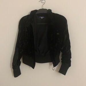 Vintage Burberry velvet collared bomber jacket